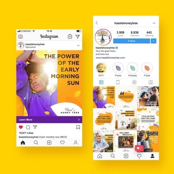 Instagram profile and ad content design