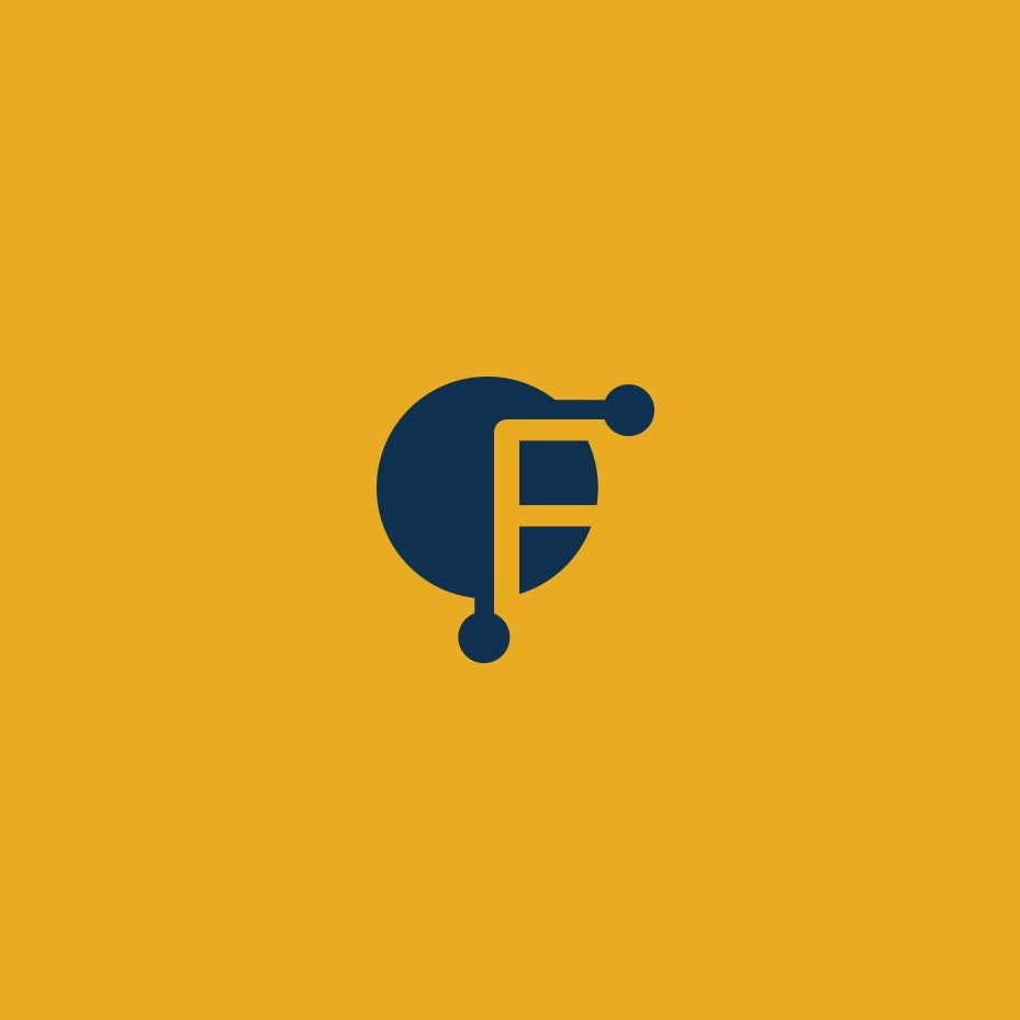 yellow and blue logo of the letter F in negative space