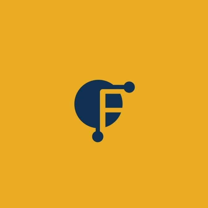 yellow and blue business logo of the letter F in negative space