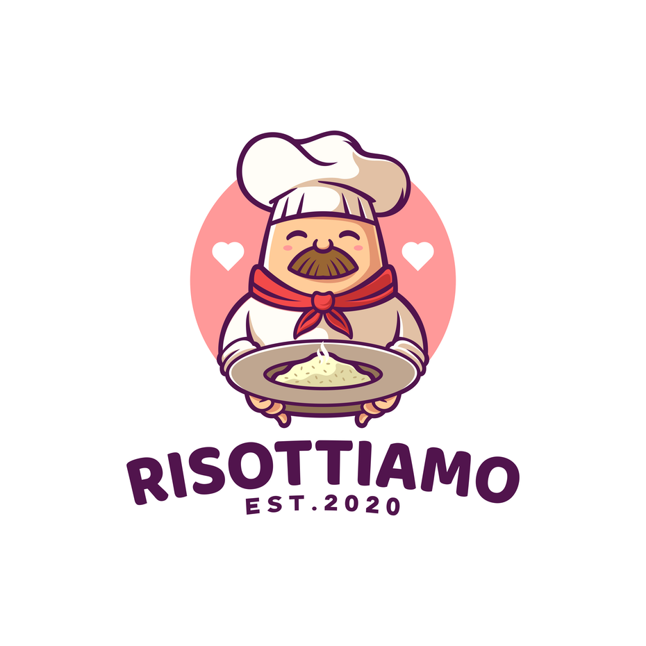 small business logo with chef mascot