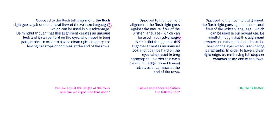 Font flush right