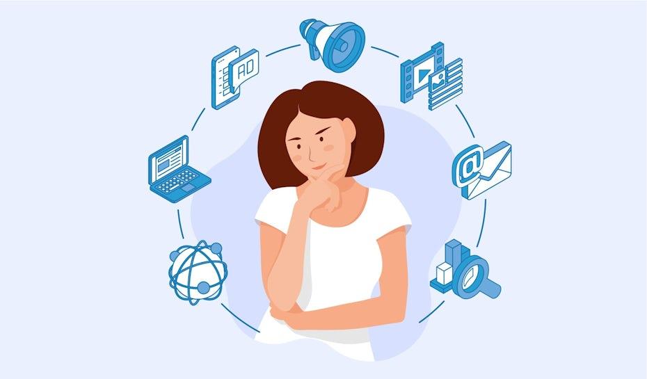 Flat-Design Illustration einer Frauenfigur, die über digitale Werbung nachdenkt