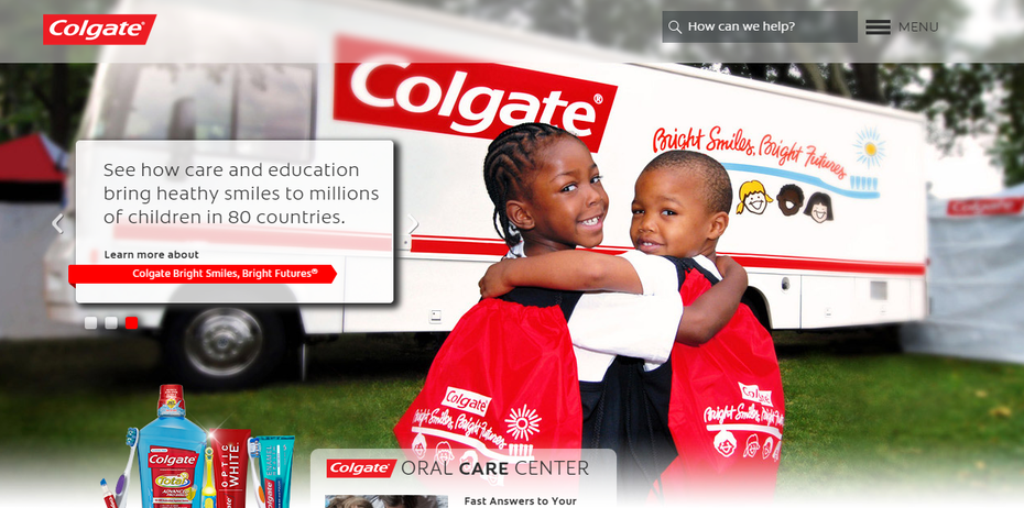 screenshot Colgate Oral Care Center website