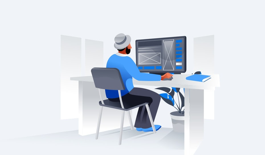 Flat design illustration of a designer working on a laptop