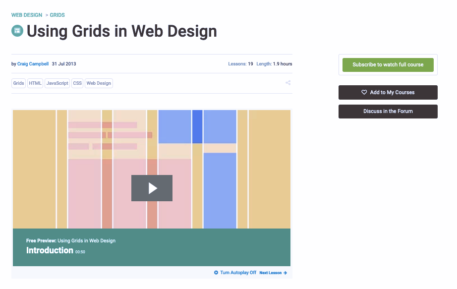 Screenshot of Envato Tuts+ web design tutorials