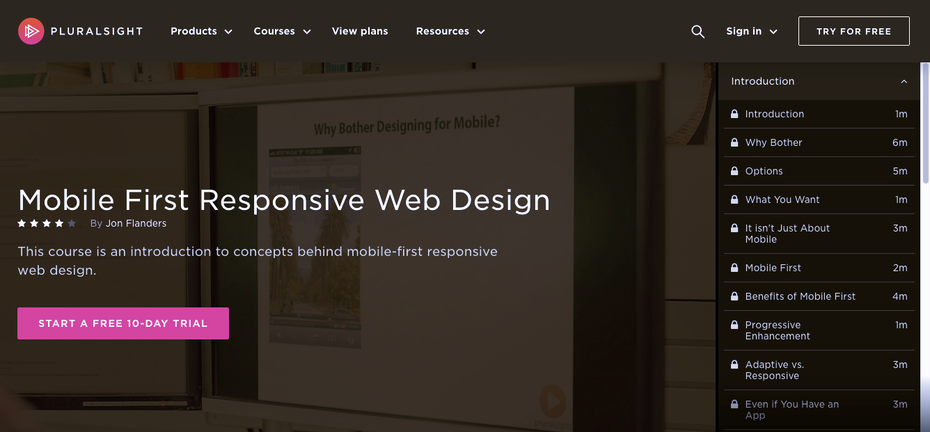 Screenshot of Pluralsight responsive web design tutorials