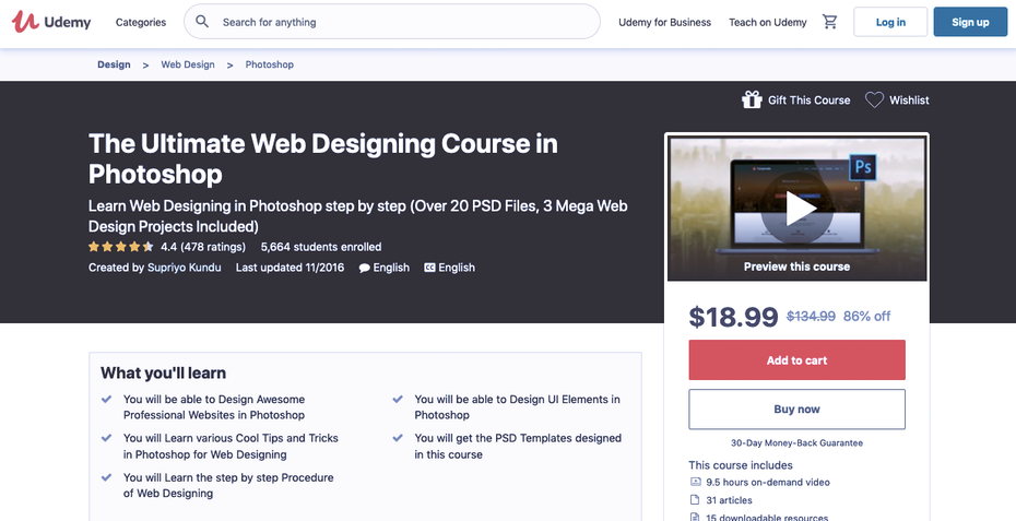 Screenshot of Udemy web design tutorials