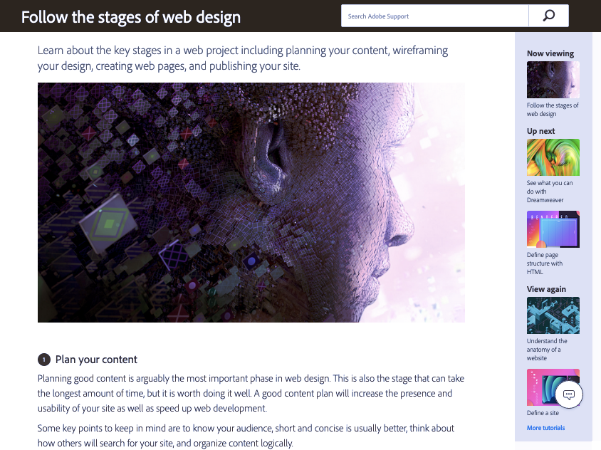 Screenshot of Dreamweaver Tutorials web design tutorials