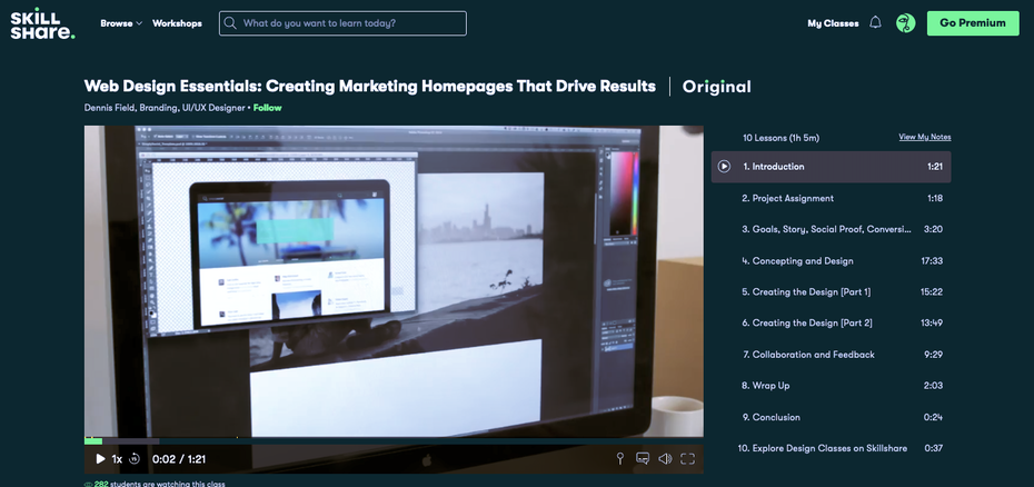Screenshot of Skillshare web design tutorials