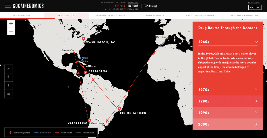 Netflix and the WSJ's interactive map on the history of the drug trade for Narcos