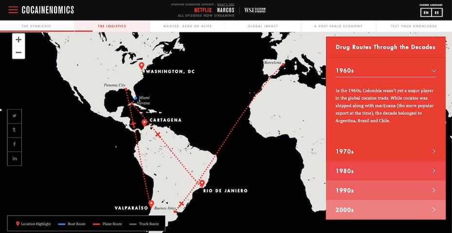 Netflix und die interaktive Karte des WSJ zur Geschichte des Drogenhandels für Narcos