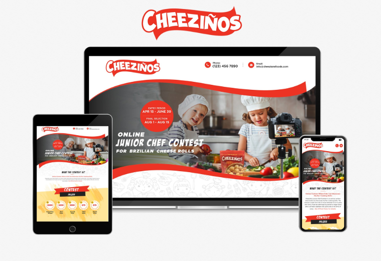 Landing page design for a children's food competition