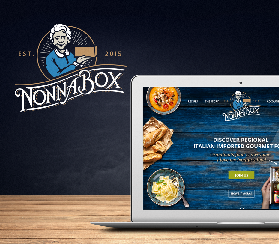 classic logo and web design for food subscription box service