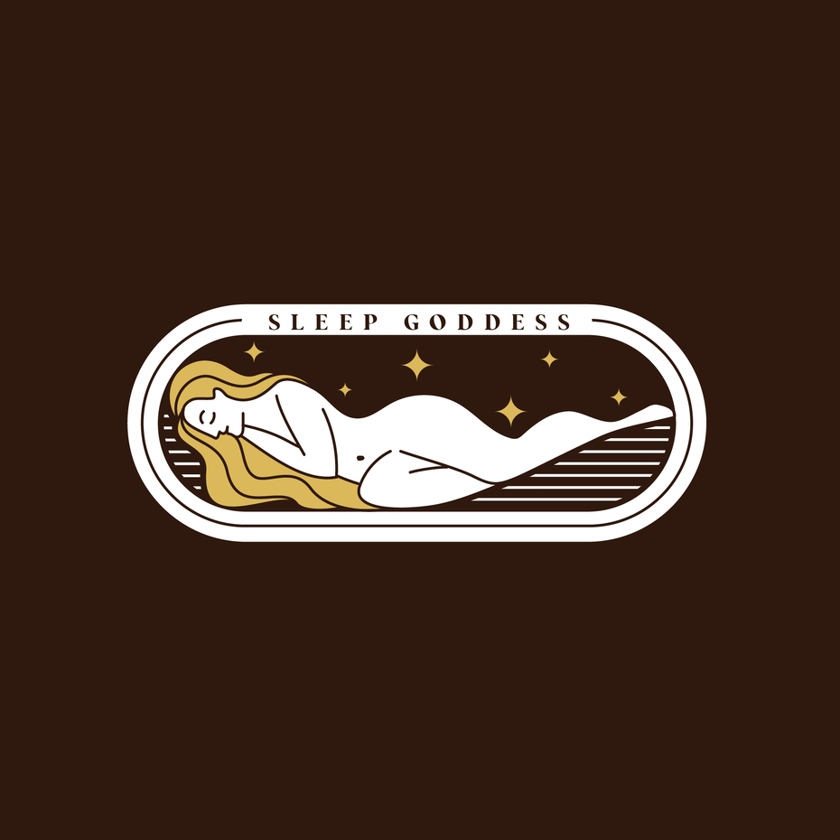 oval-shaped business logo showing a sleeping woman