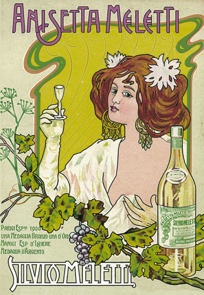 Vintage art nouveau illustrated absinthe poster ad