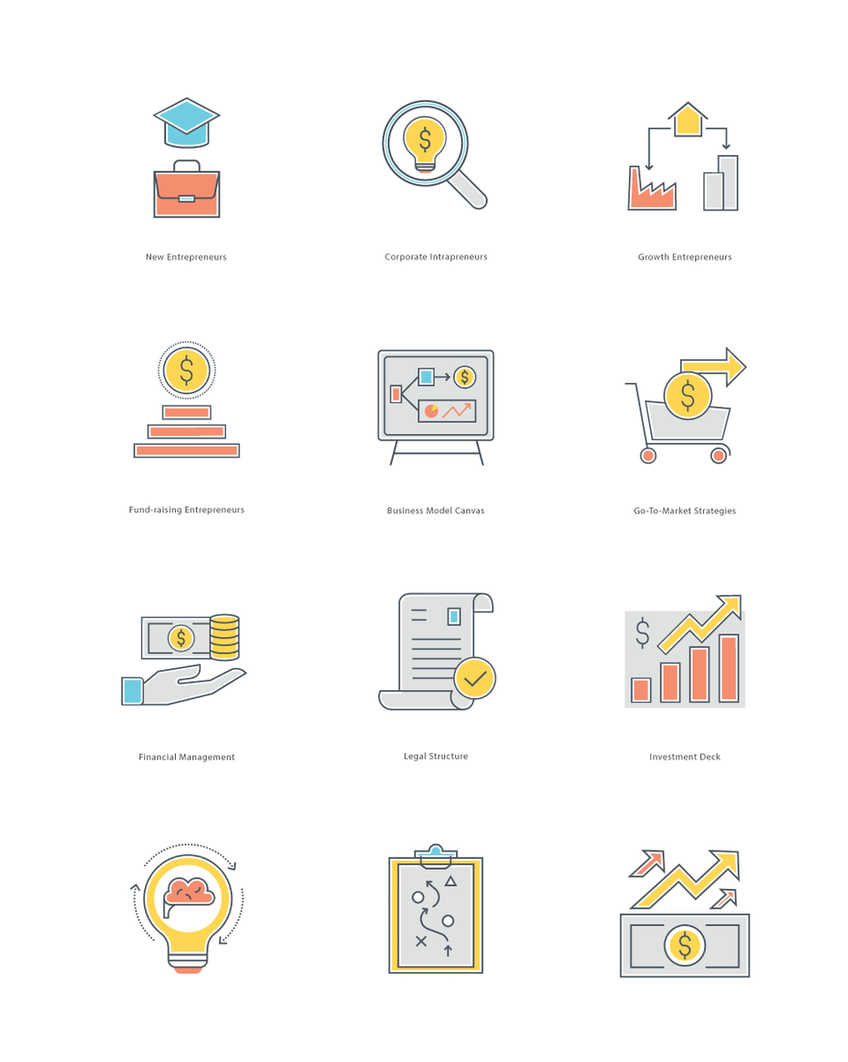 A series of flat design financial icons