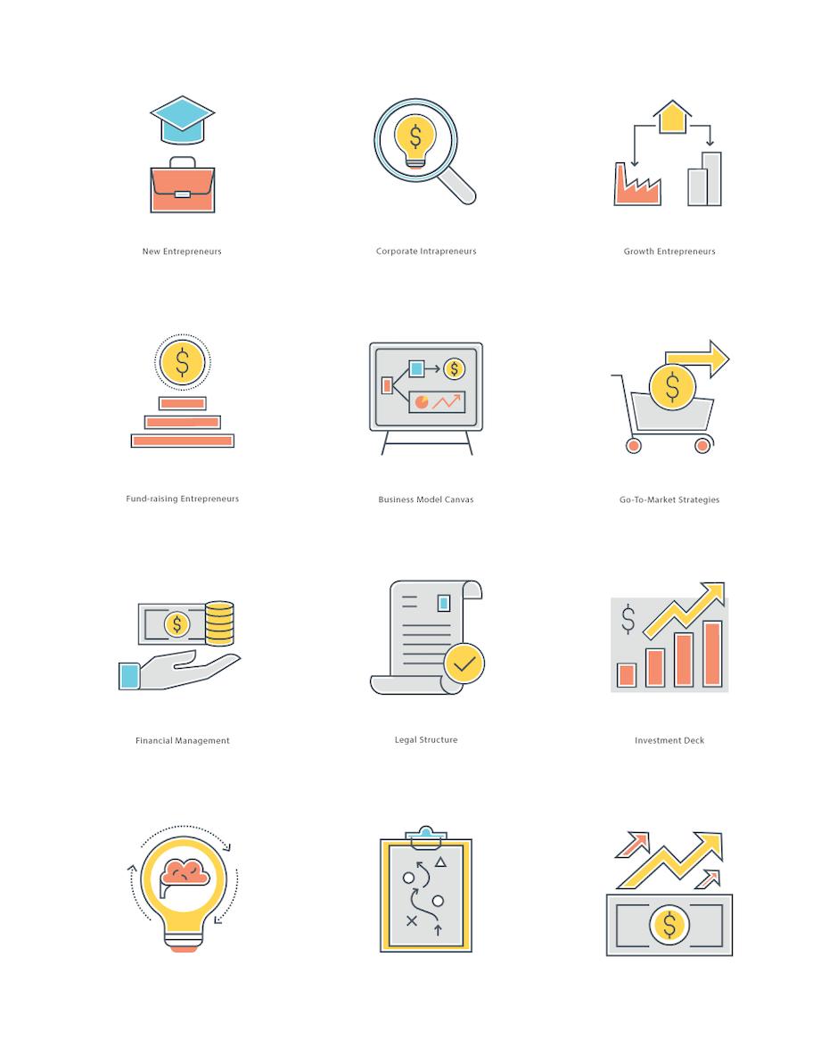 Icons fürs Finanzwesen im Flat-Designstil