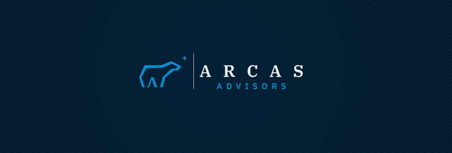 geometric business logo showing the outline of a polar bear against a dark blue background