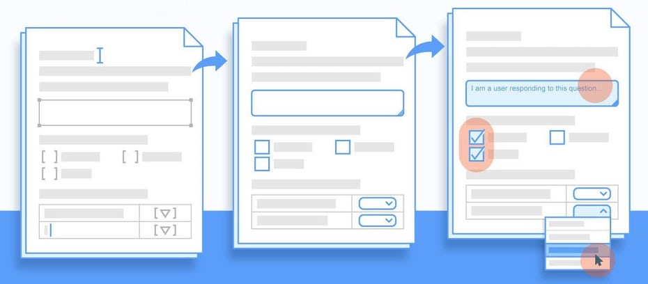 A flat design blue illustration of document templates