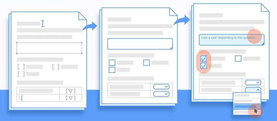Eine blaue Illustration von Dokumentvorlagen im Flat-Designstil