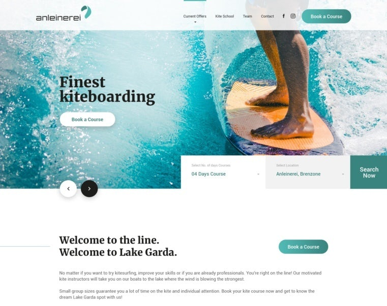 Kiteboarding website background header