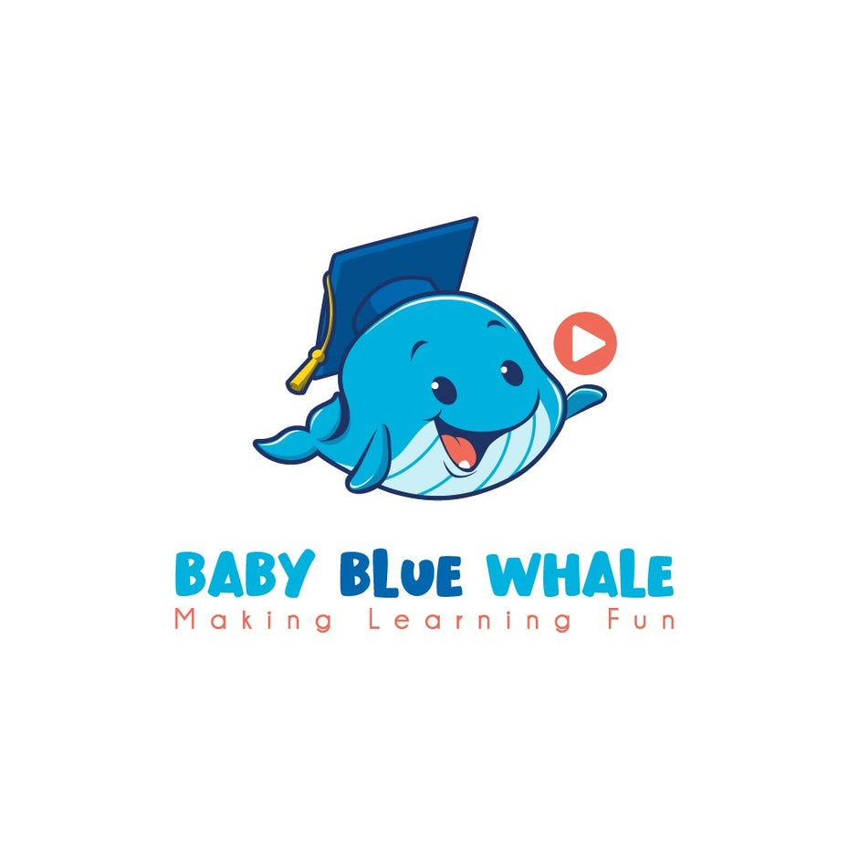 business logo showing a blue whale in a graduation cap
