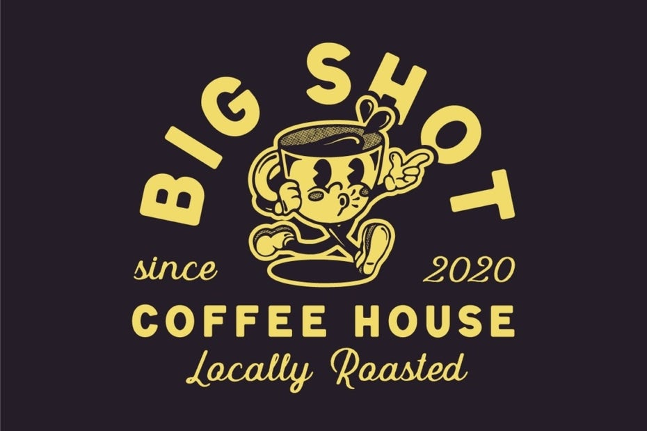 yellow and dark brown business logo showing an anthropomorphic coffee cup and text