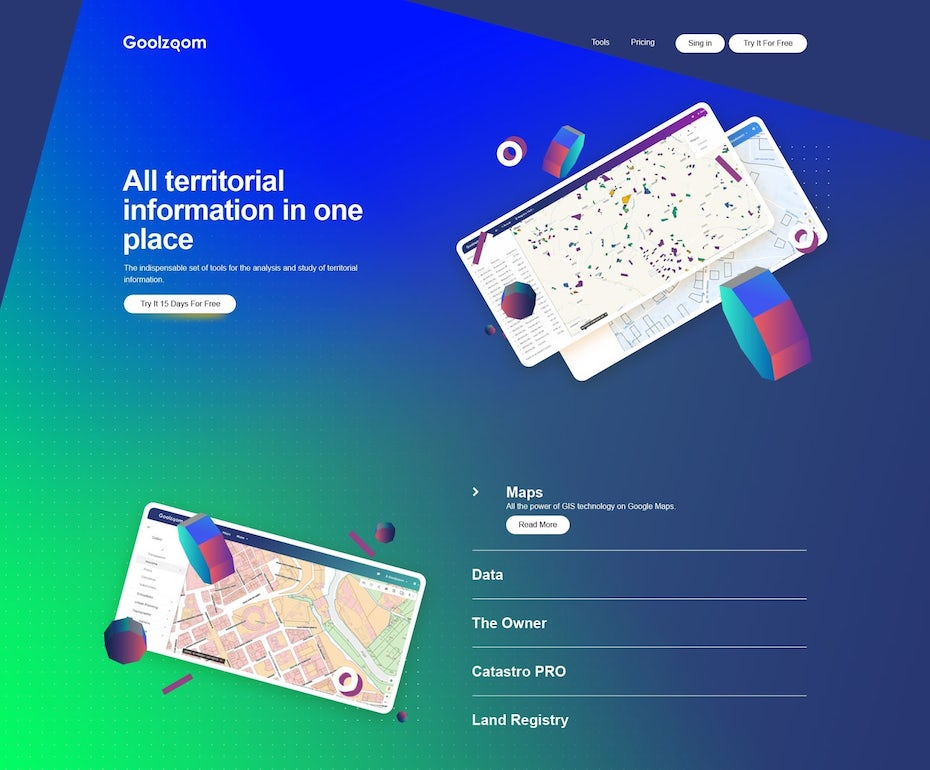 Design de landing page pour une application d'analyse