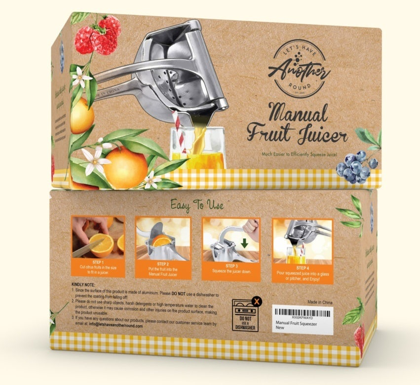 juice product packaging showing fresh fruits and the juicing process