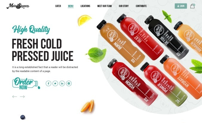 modern and bright ecommerce website design for juice brand