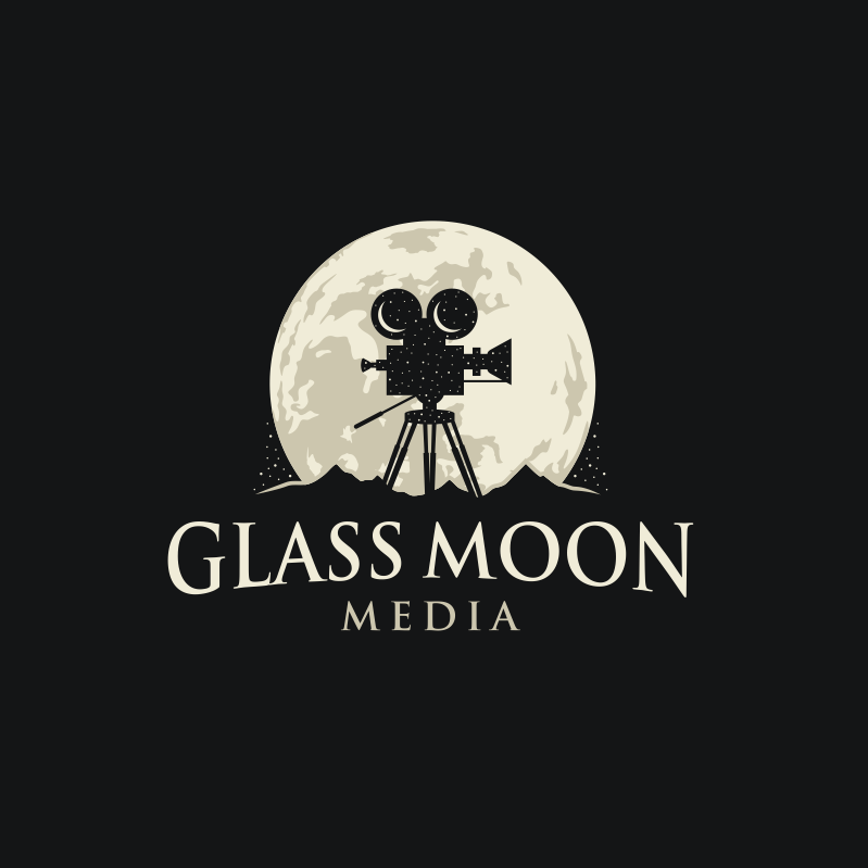creative combination small business logo with moon and camera