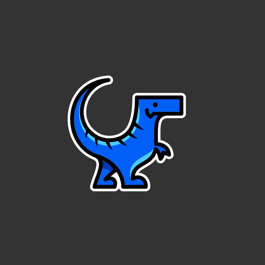 small business logo with dinosaur illustration