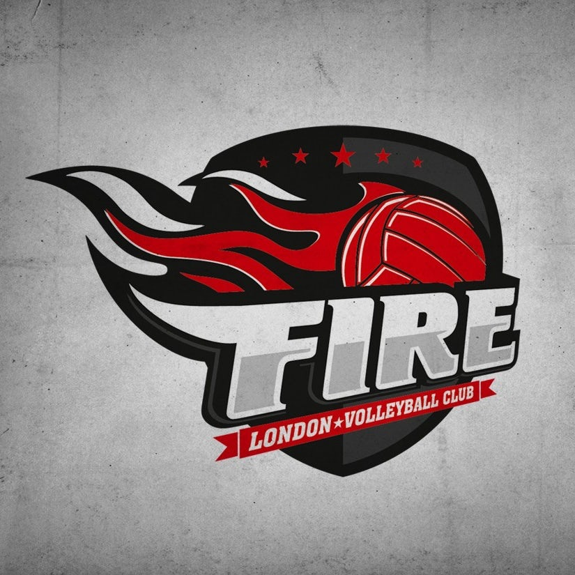 red logo with volleyball on fire