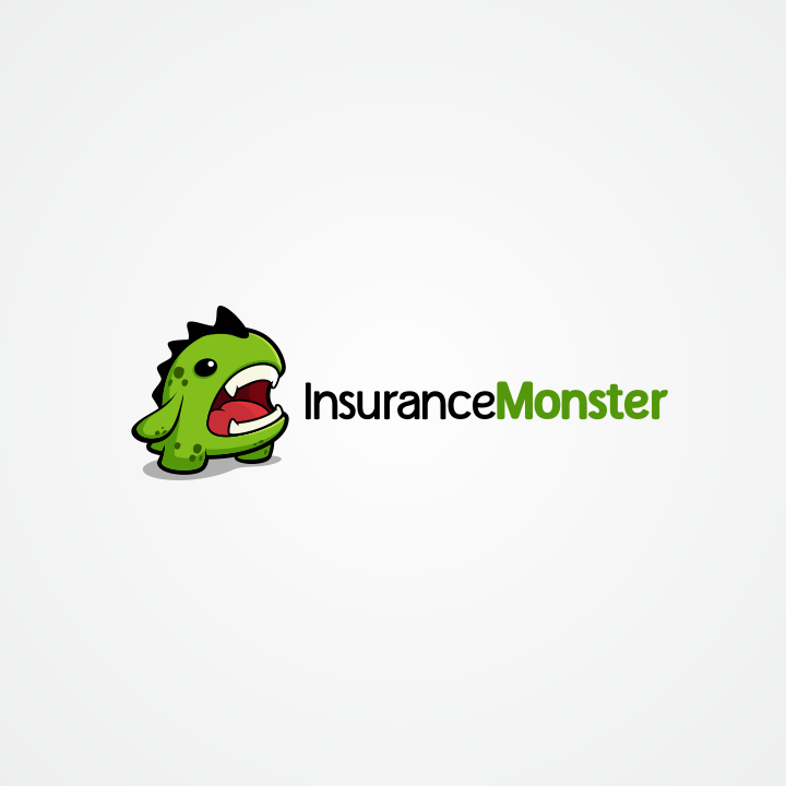 wordmark business logo accompanied by a small green monster
