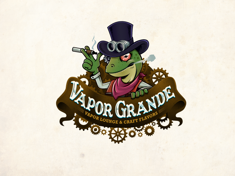detailed business logo of a steampunk lizard vaping