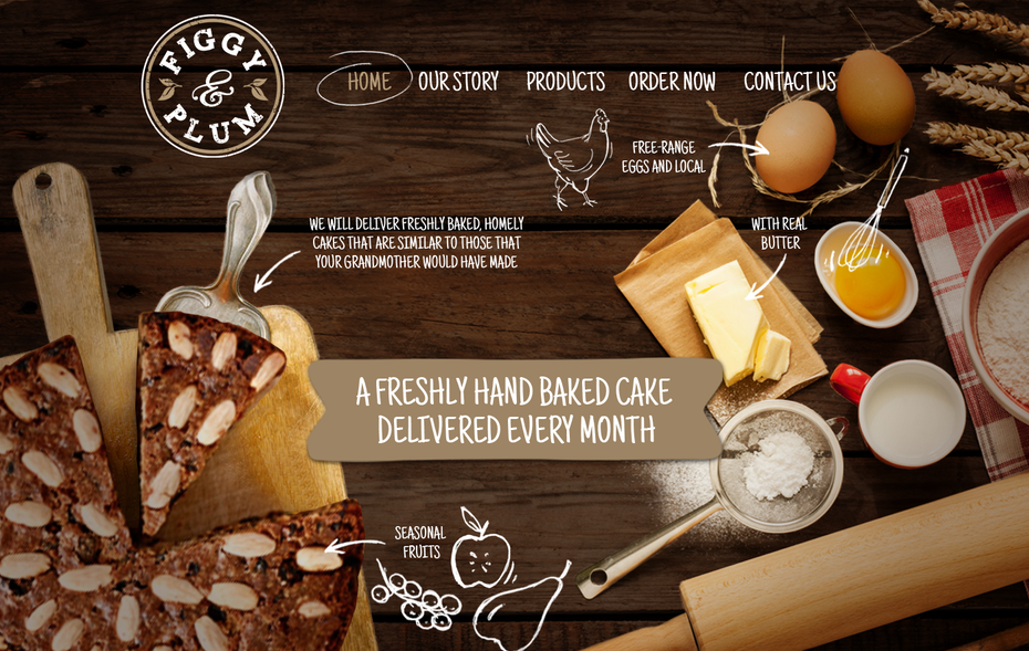 baked good subscription service website background