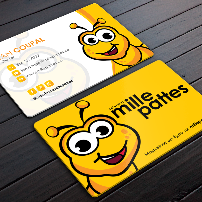 business card showing a smiling yellow cartoon bee