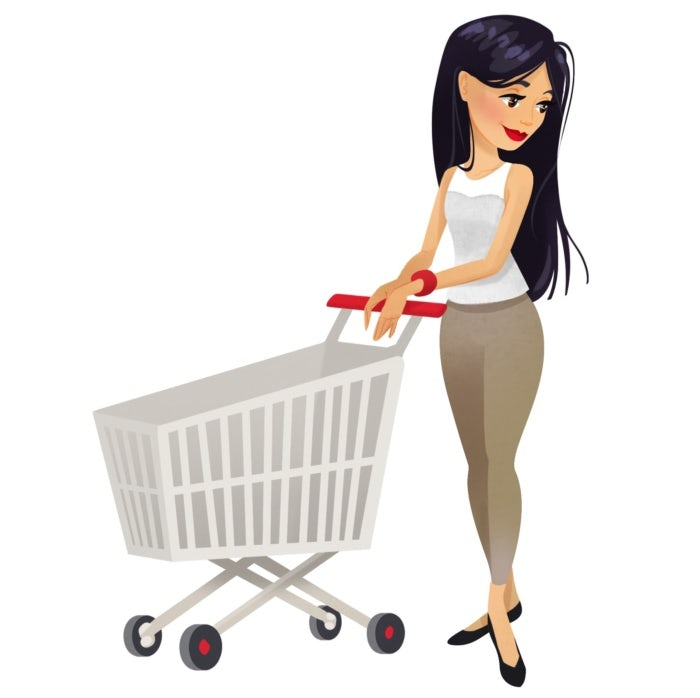 illustration of woman with shopping cart
