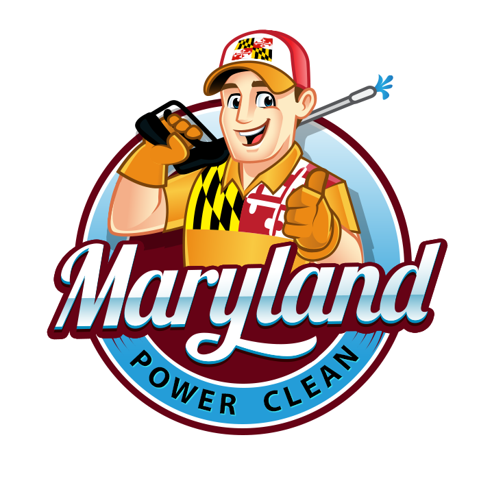 mascot business logo showing a smiling man holding power cleaning tools