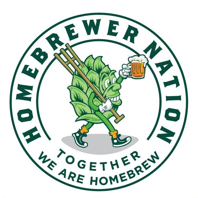 emblem style business logo showing an anthropomorphic hop with a mug of beer