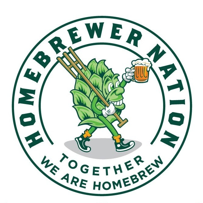 emblem style logo showing an anthropomorphic hop with a mug of beer