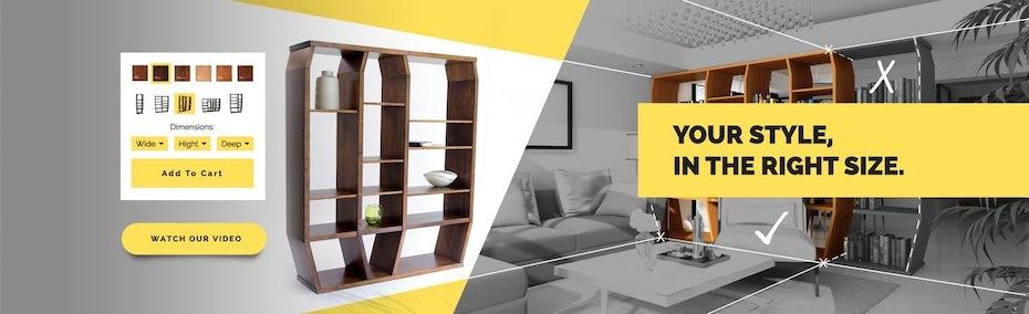 Gelbe, schwarz-weißer Werbebanner für ein Möbelunternehmen