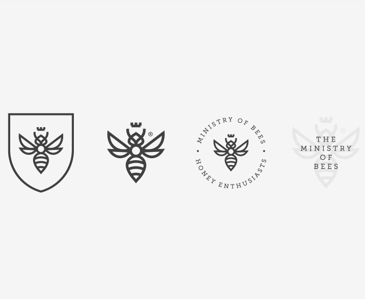 four variations of a geometric bee business logo