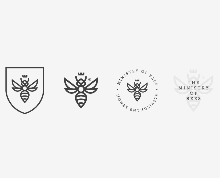four variations of a geometric bee logo