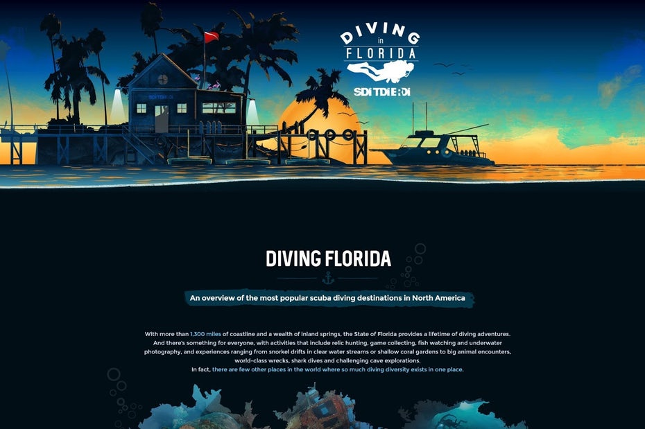 Underwater themed landing page design for a scuba diving brand