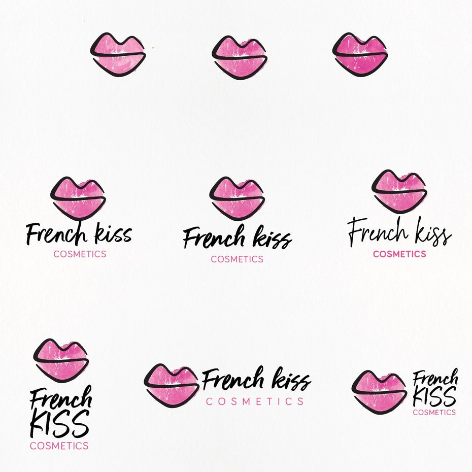 illustration-style logo of pink lips and black text