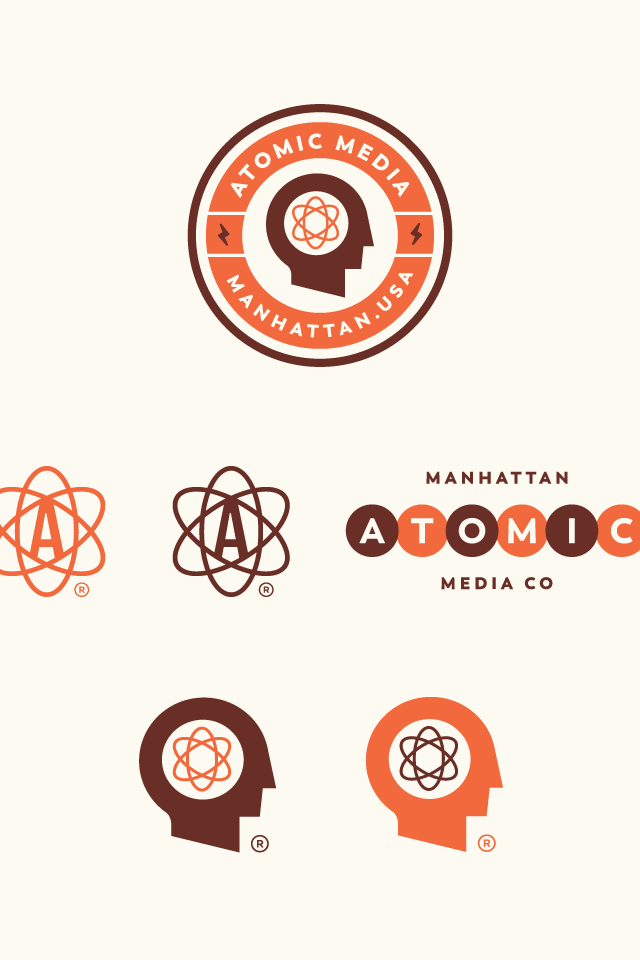 orange and brown logo set for a media company