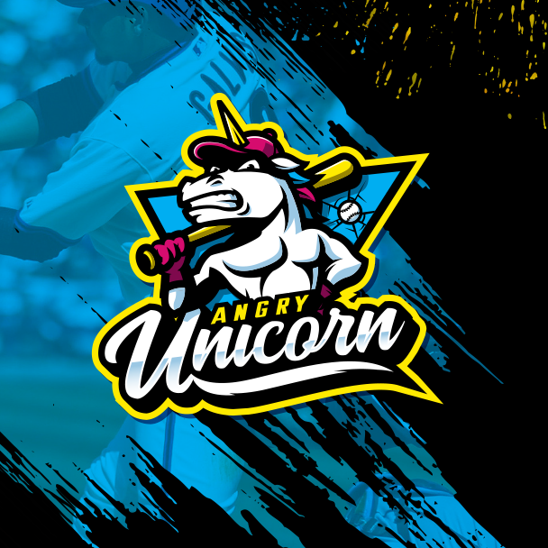 sports logo for Angry Unicorn