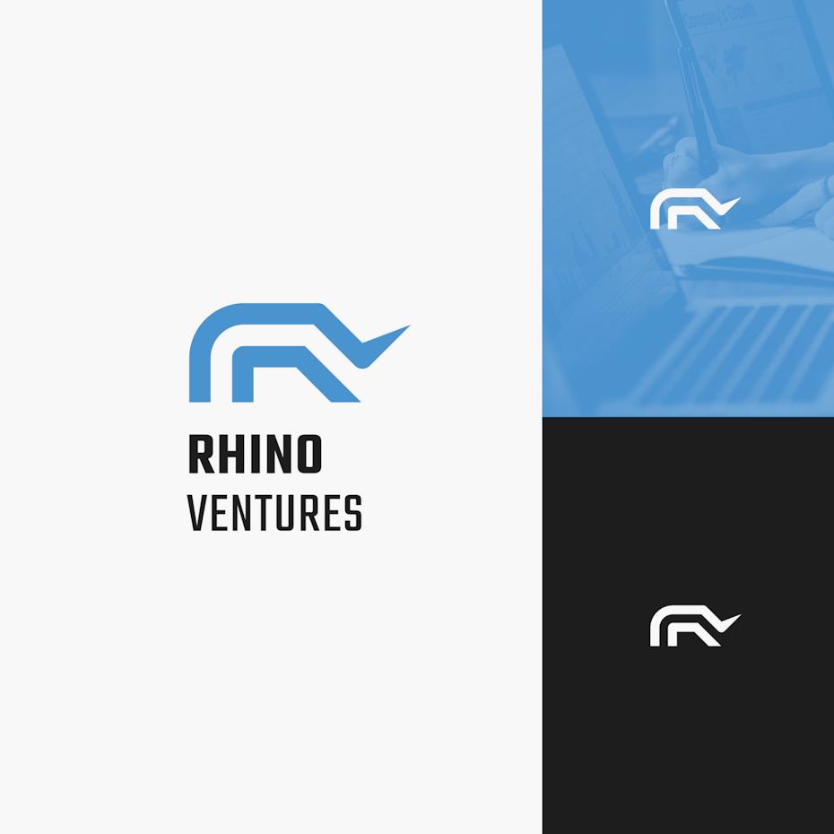 blue and black abstract rhino logo design