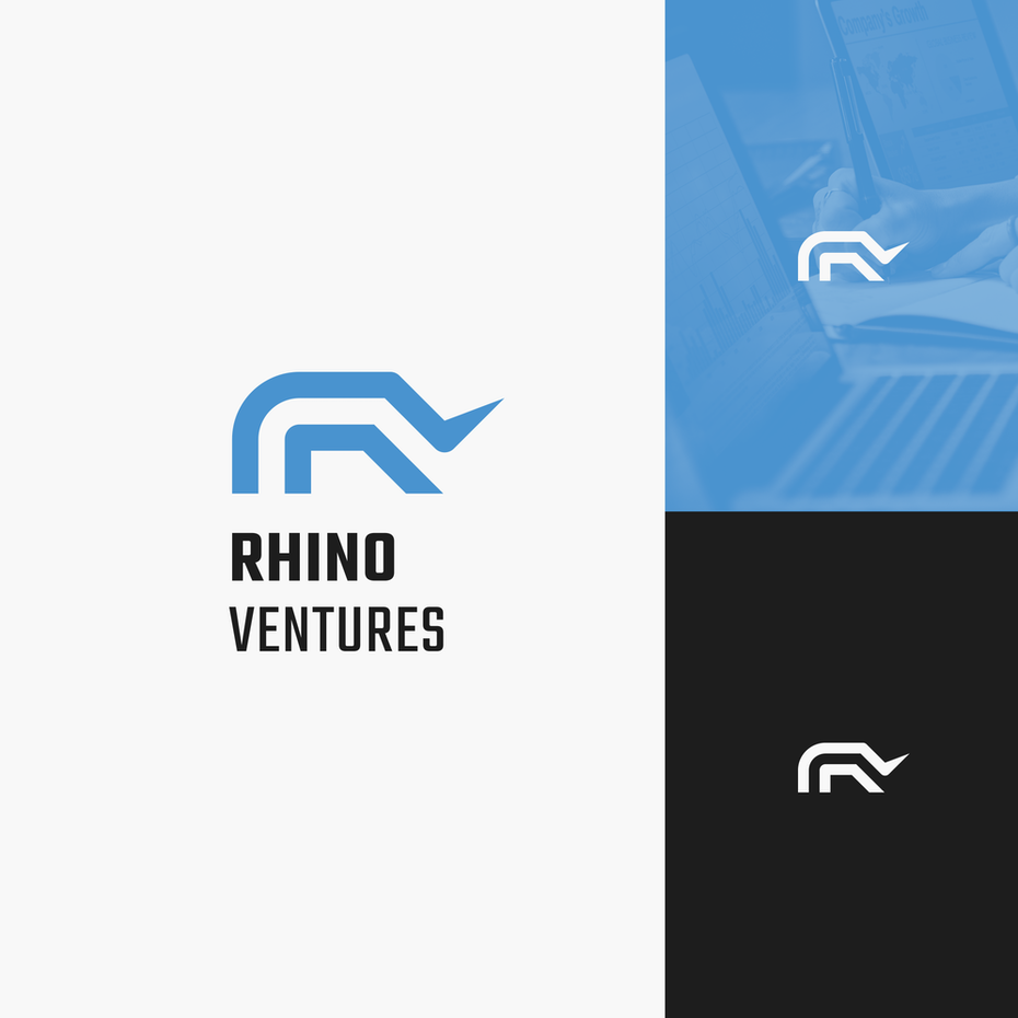 blue and black abstract rhino logo design